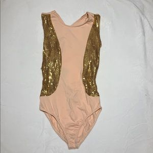 Asos- pink one piece with gold sequin